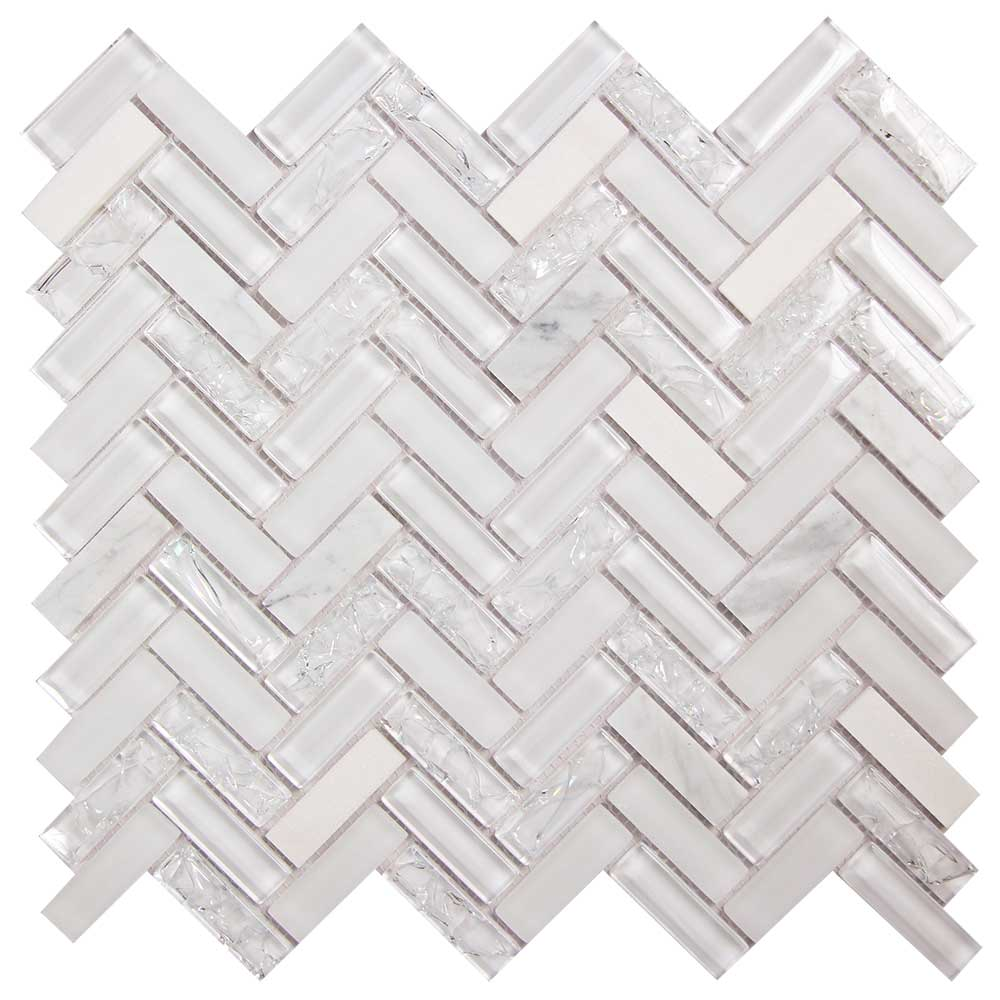 Archery White Oak Glass Herringbone Tile for Backsplash
