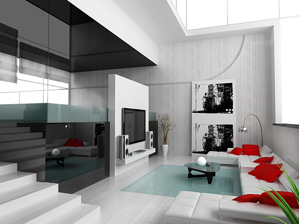 Black and White Living Room with red accessories for accent